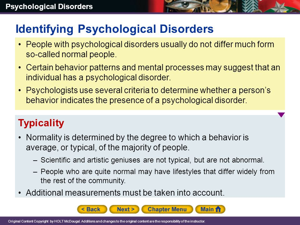 Identifying Psychological Disorders