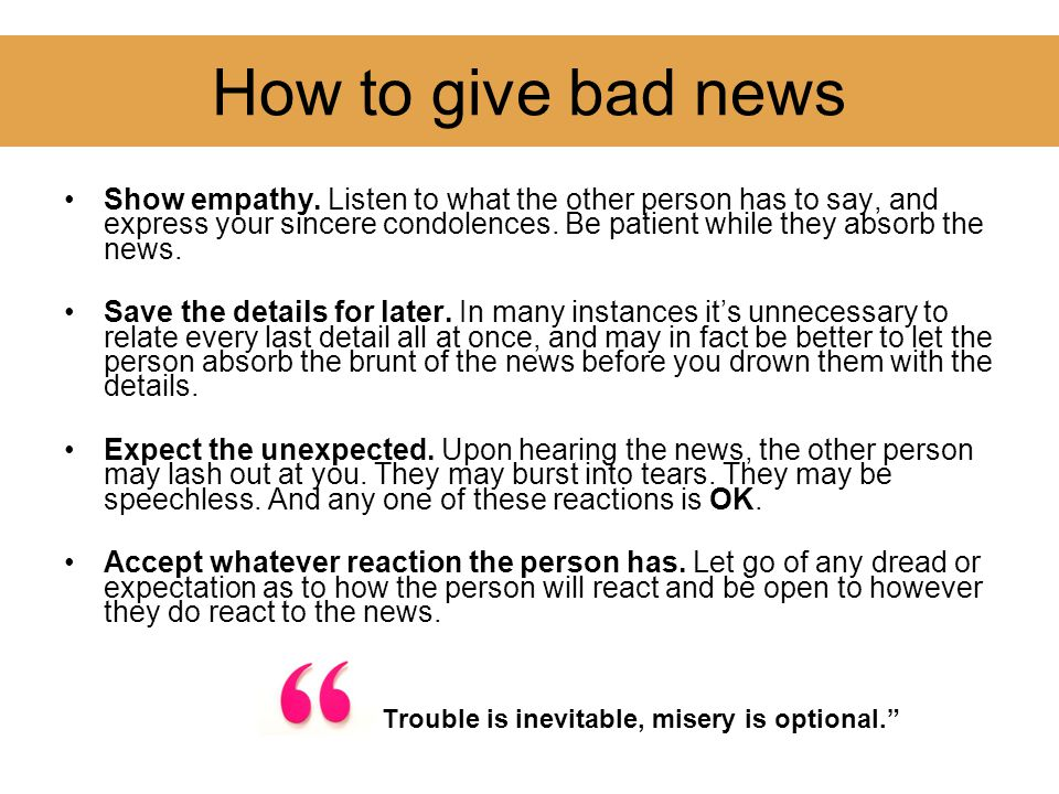 How to give bad news