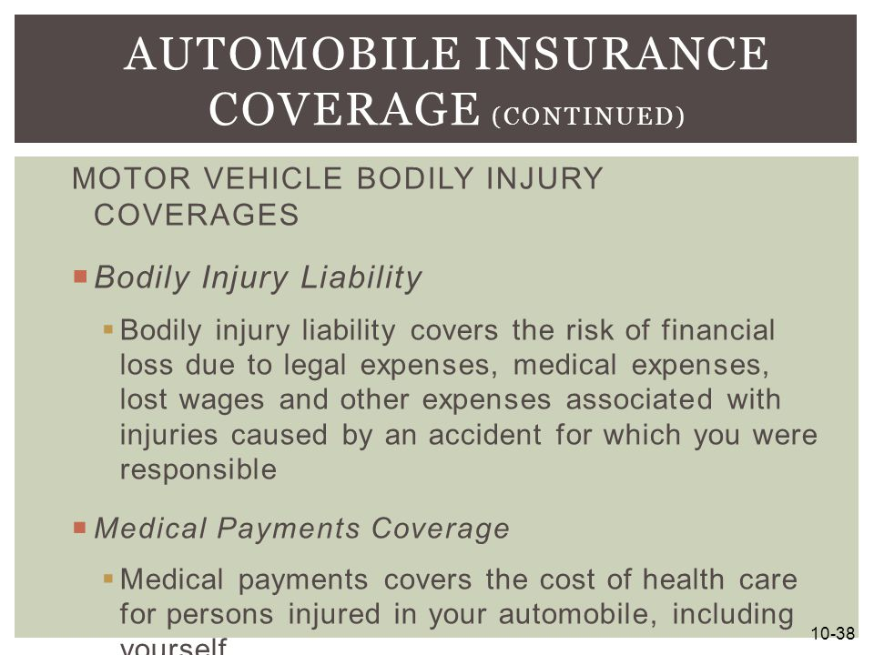 Automobile Insurance Coverage (continued)