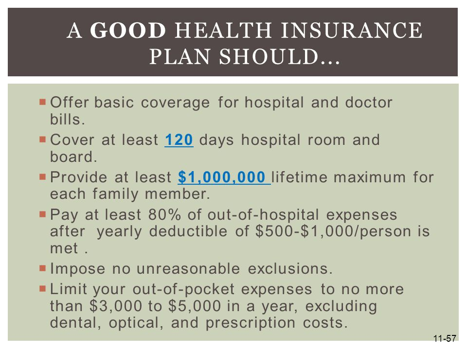 A Good Health Insurance Plan Should...