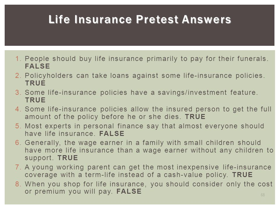 Life Insurance Pretest Answers