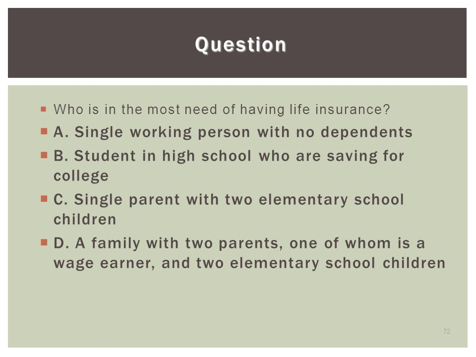 Question A. Single working person with no dependents