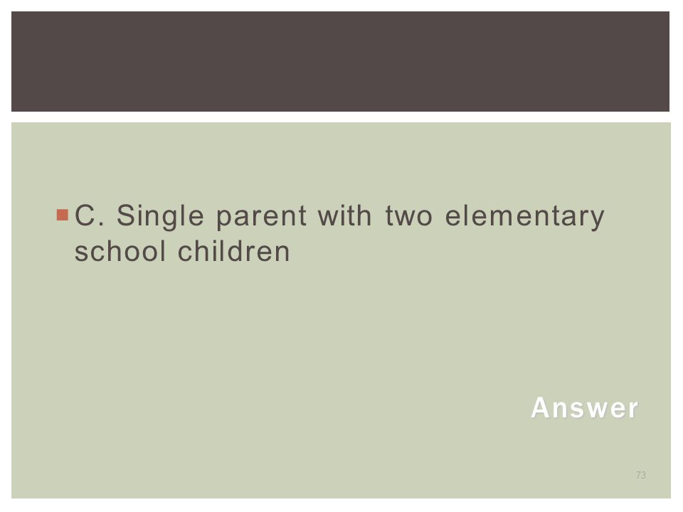 C. Single parent with two elementary school children