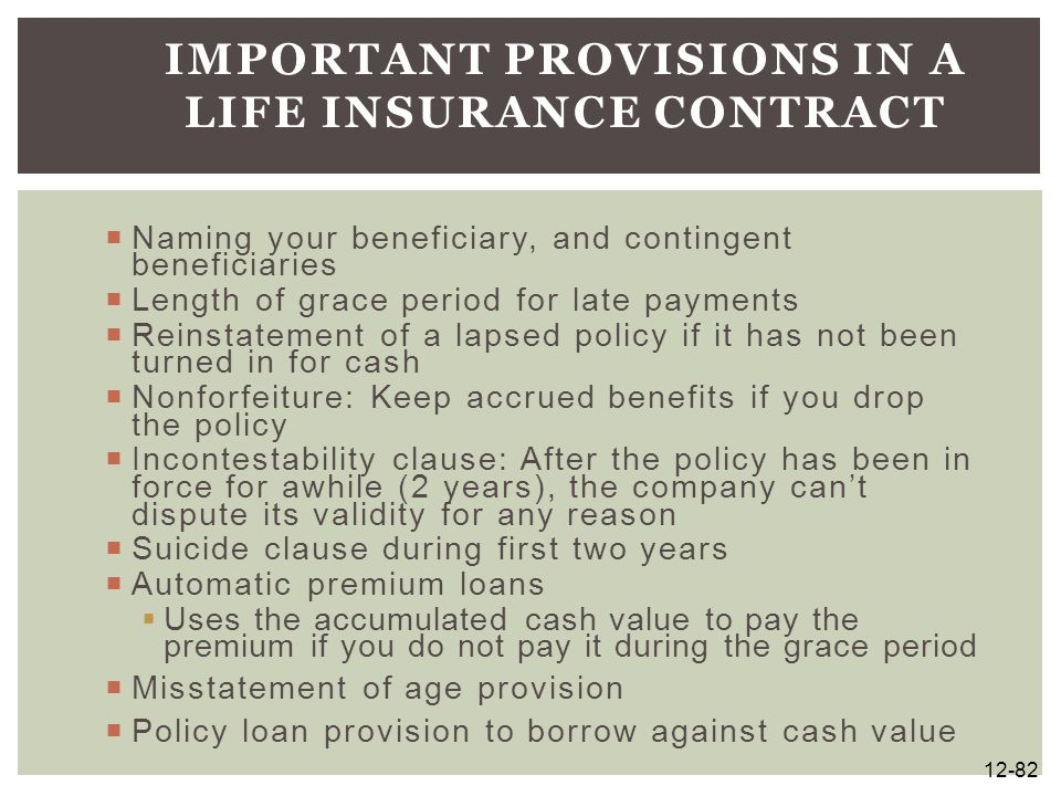 Important Provisions in a Life Insurance Contract