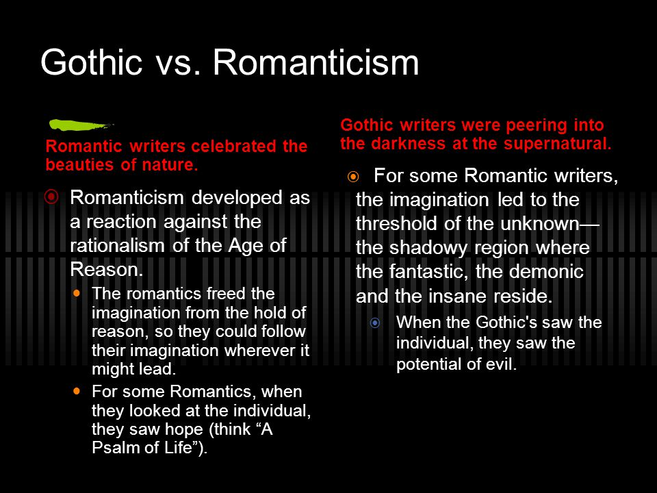 Gothic vs. Romanticism Gothic writers were peering into the darkness at the supernatural. Romantic writers celebrated the beauties of nature.