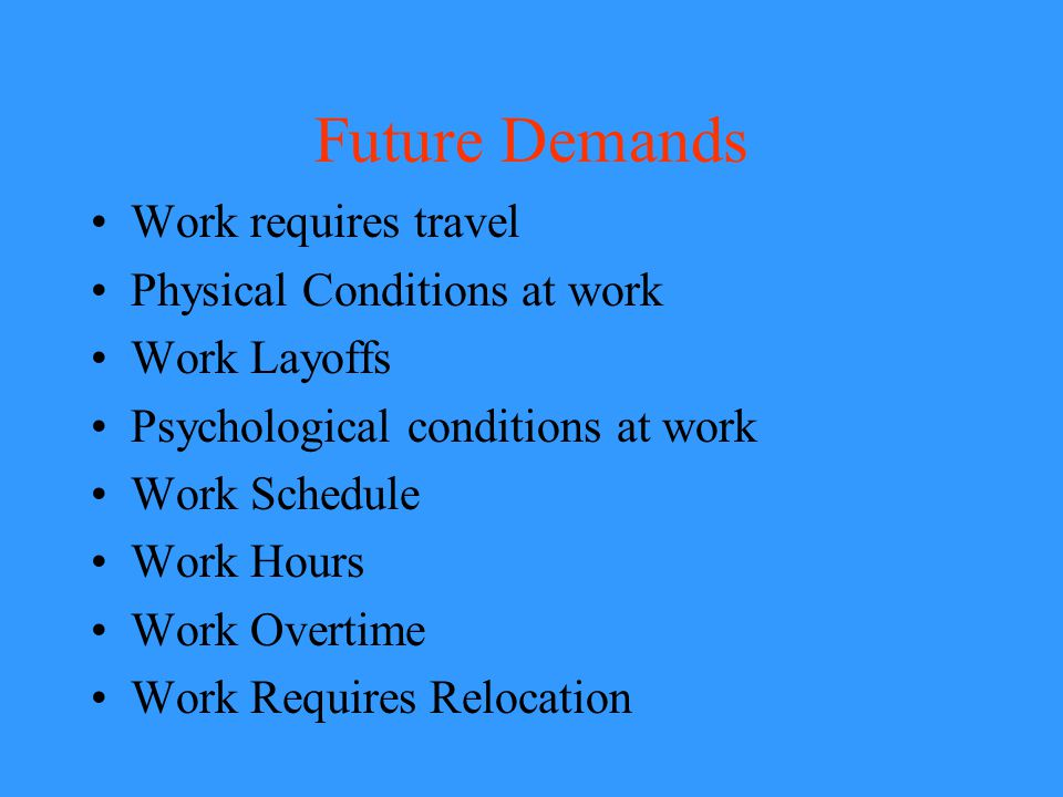 Future Demands Work requires travel Physical Conditions at work