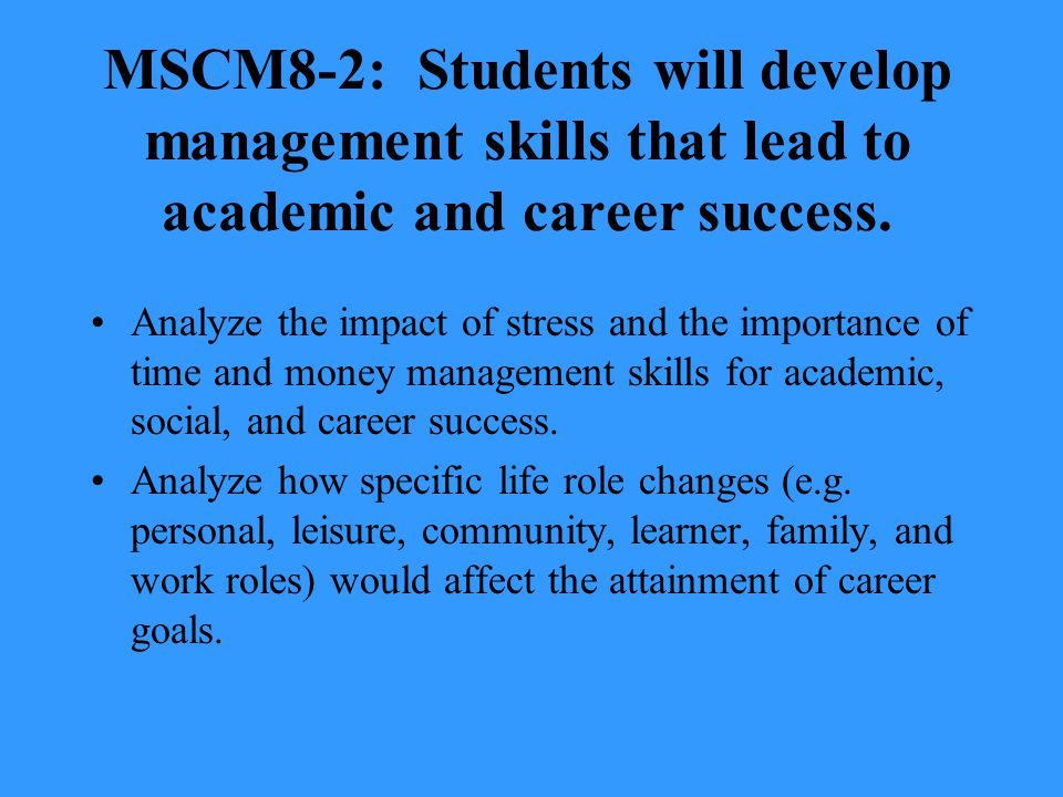 MSCM8-2: Students will develop management skills that lead to academic and career success.