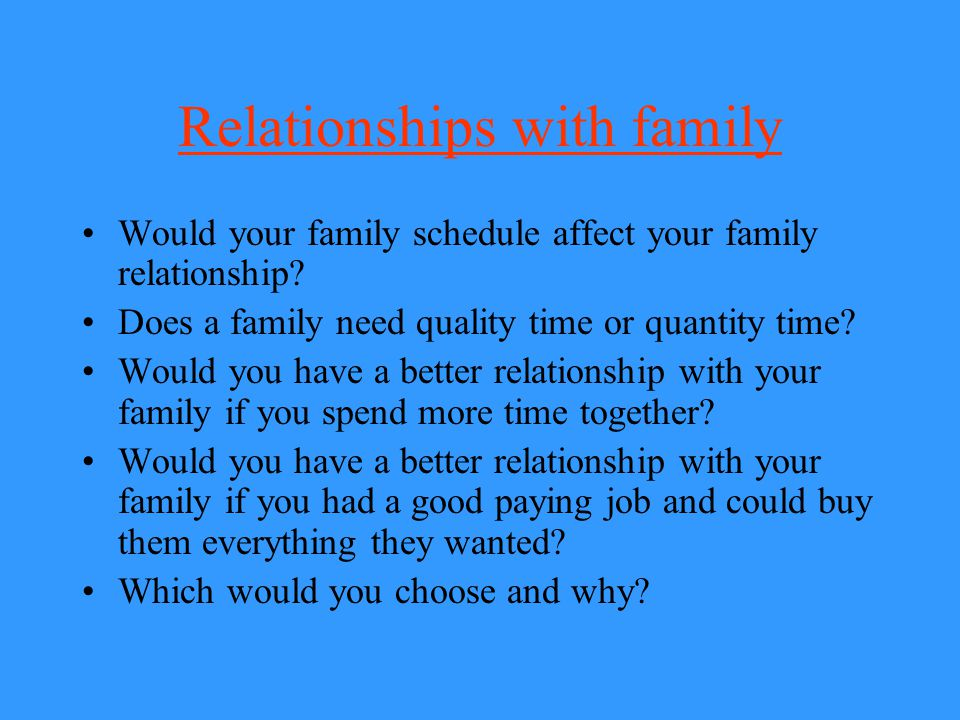 Relationships with family