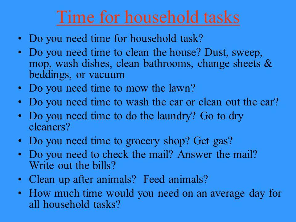 Time for household tasks