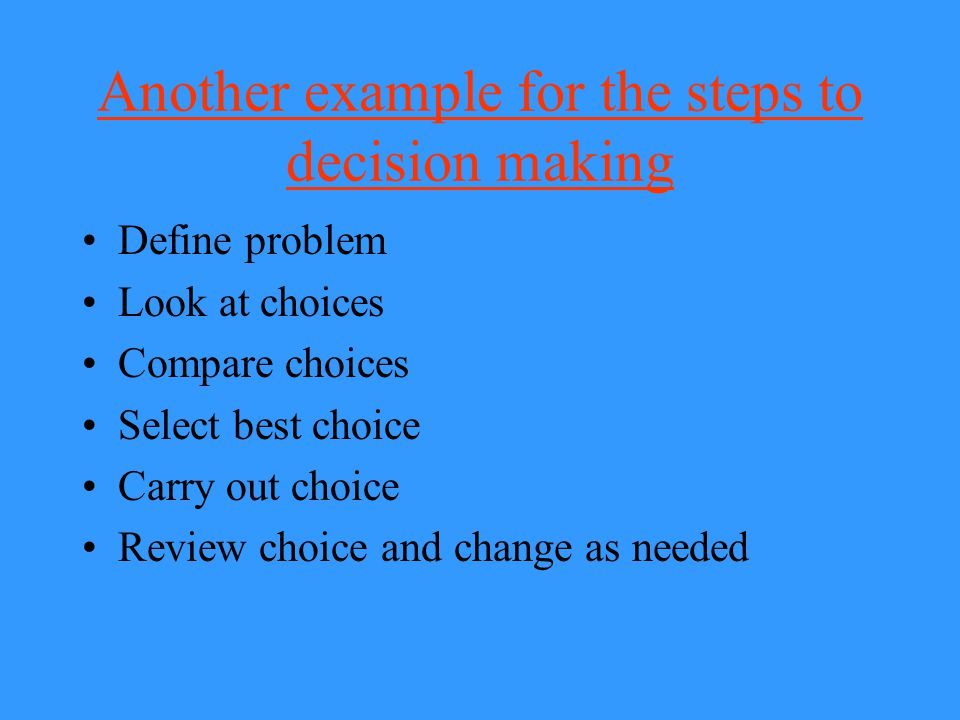 Another example for the steps to decision making