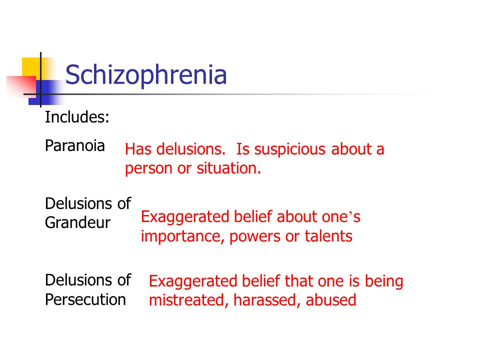 Schizophrenia Includes: Paranoia