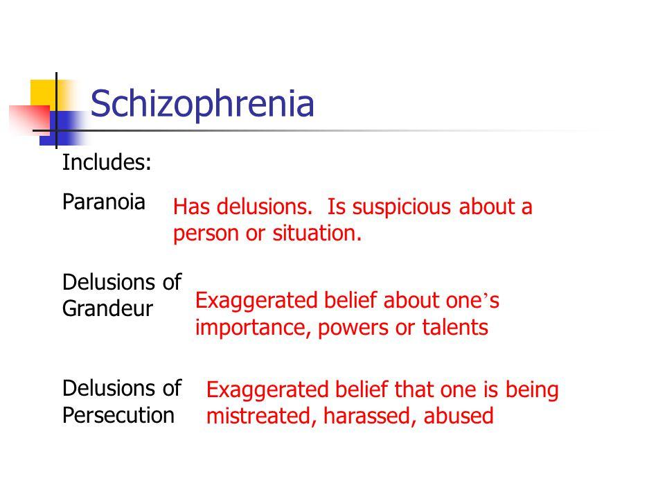 Schizophrenia Includes: Paranoia