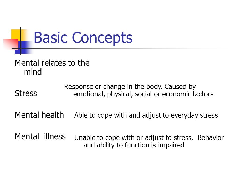 Basic Concepts Mental relates to the mind Stress Mental health