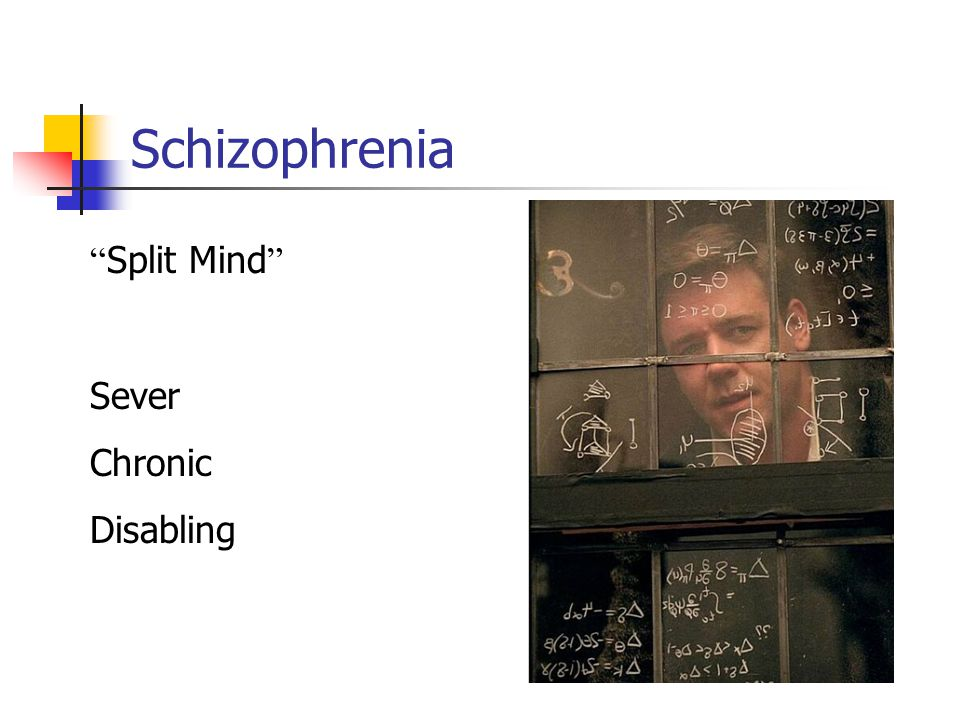 Schizophrenia Split Mind Sever Chronic Disabling