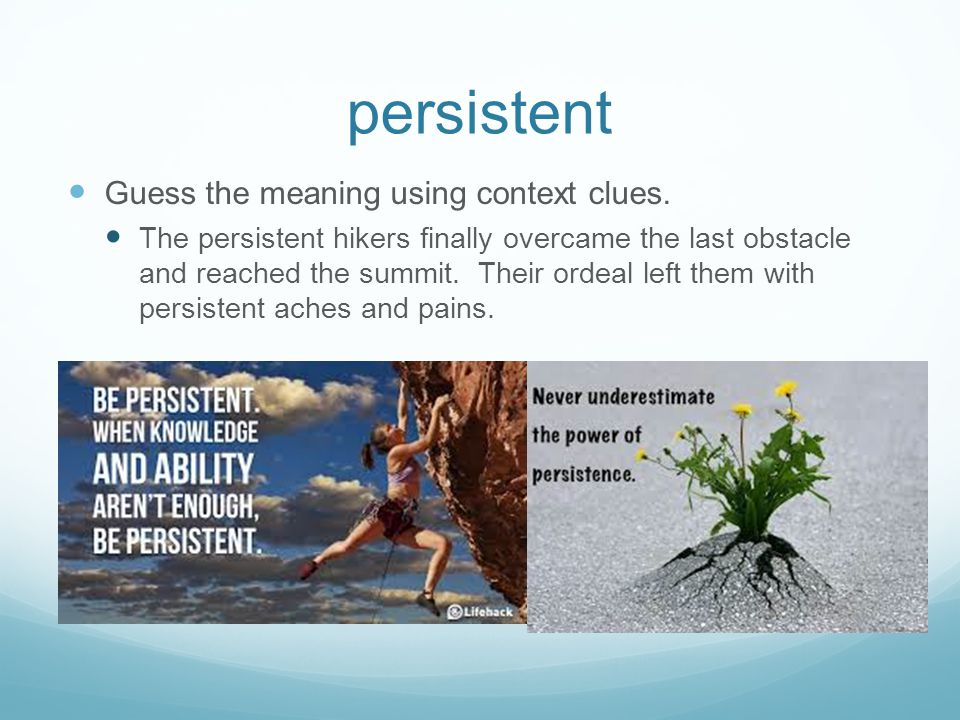persistent Guess the meaning using context clues.