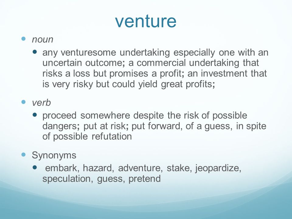 venture noun.