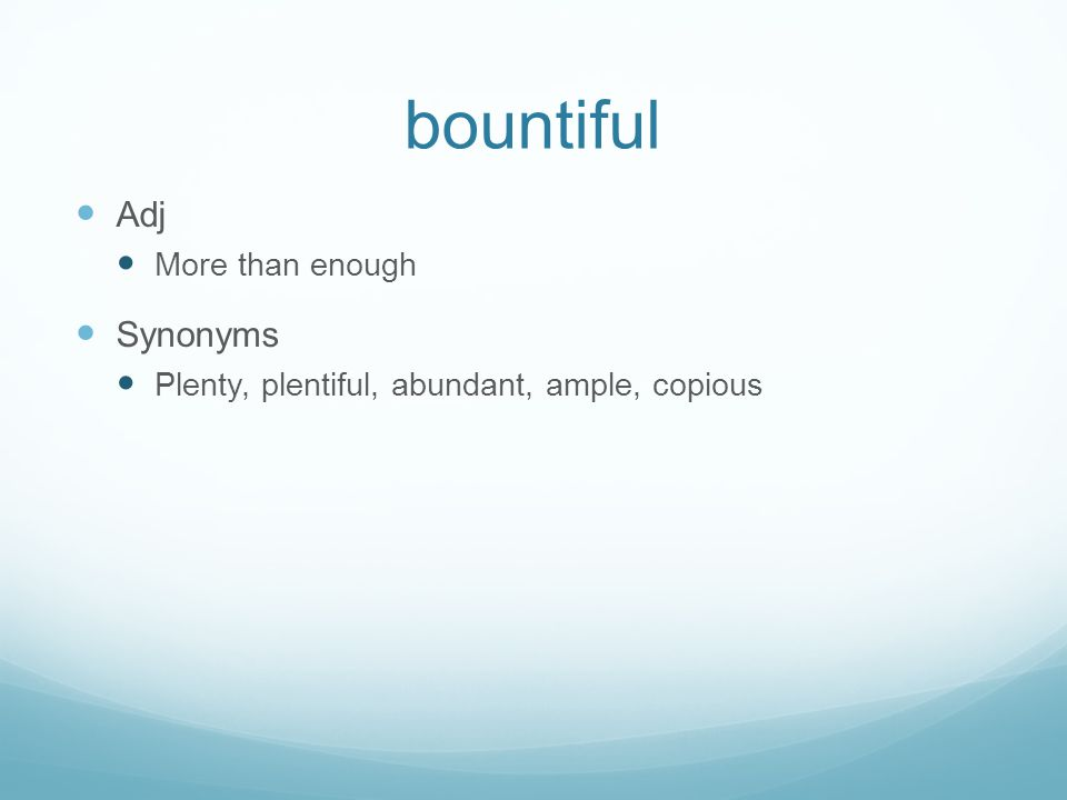 bountiful Adj Synonyms More than enough