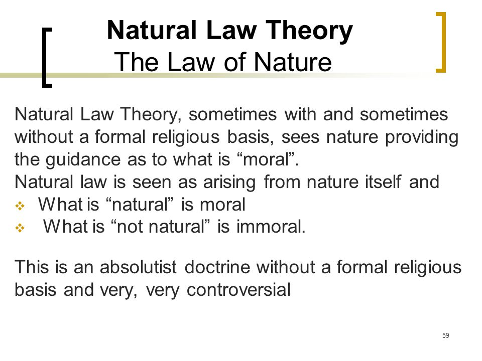 Natural Law Theory The Law of Nature