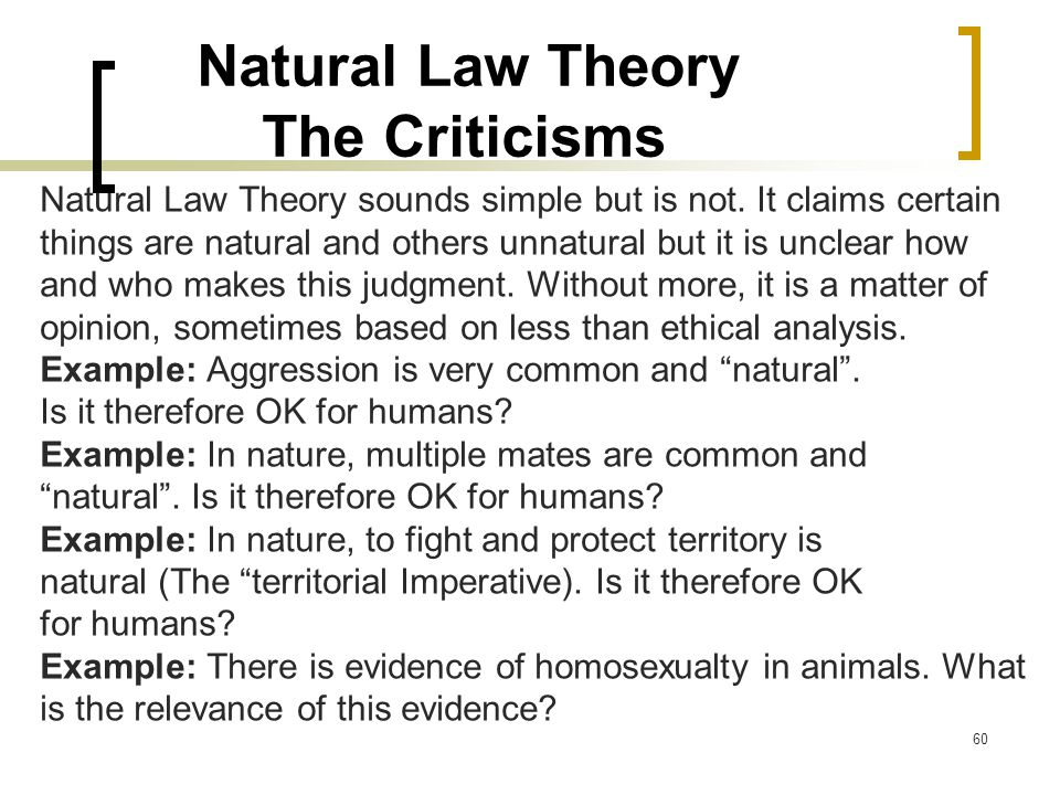 Natural Law Theory The Criticisms