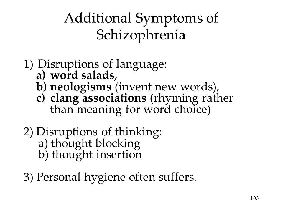 Additional Symptoms of Schizophrenia
