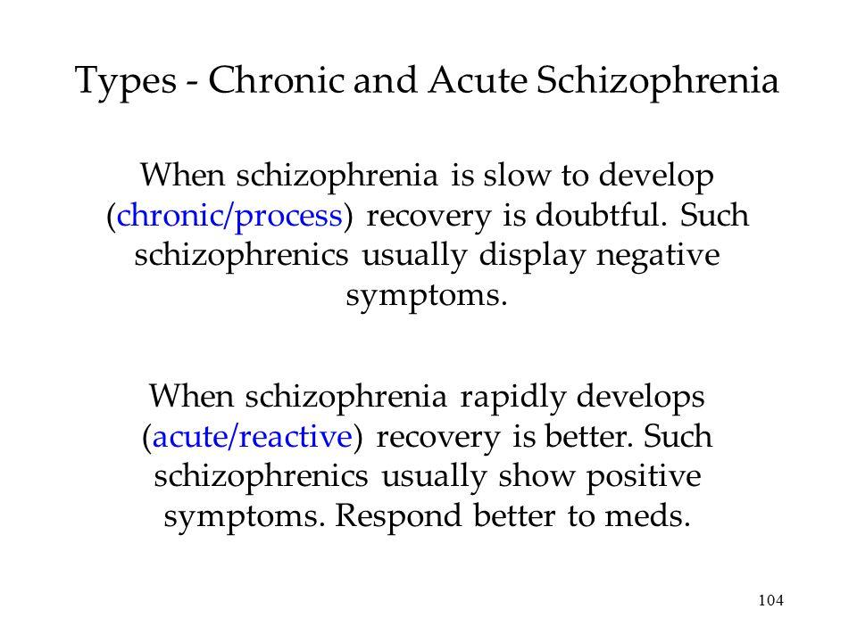 Types - Chronic and Acute Schizophrenia