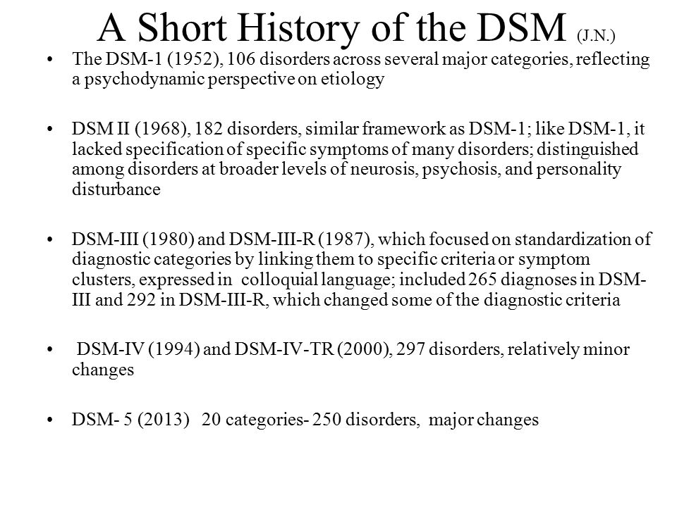 A Short History of the DSM (J.N.)