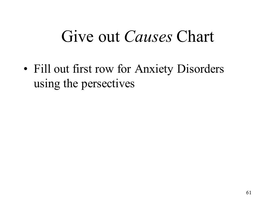 Give out Causes Chart Fill out first row for Anxiety Disorders using the persectives
