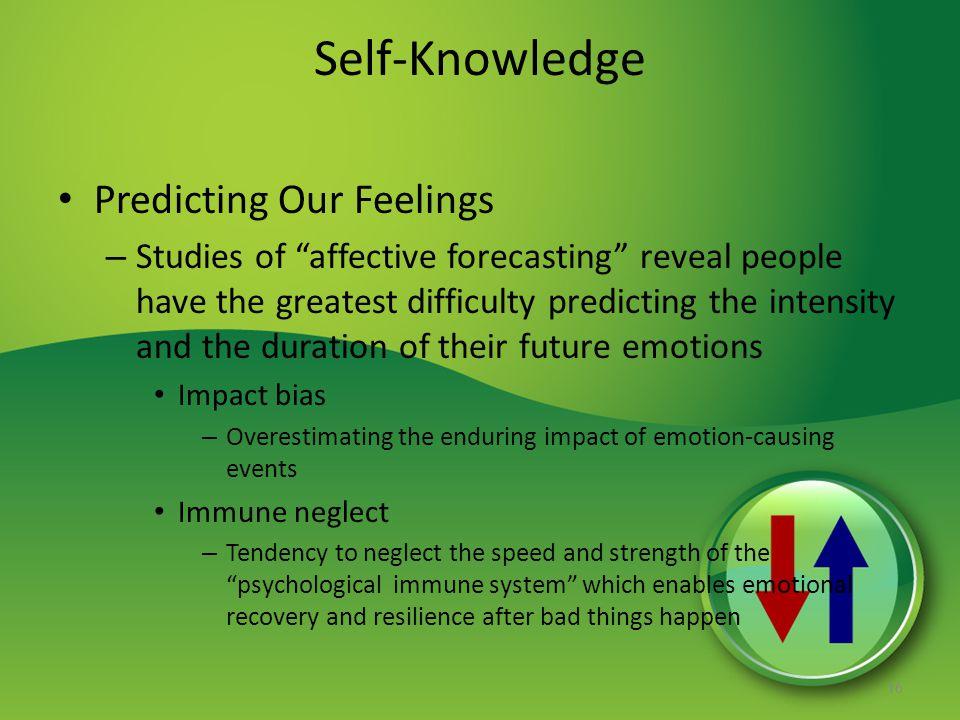 Self-Knowledge Predicting Our Feelings