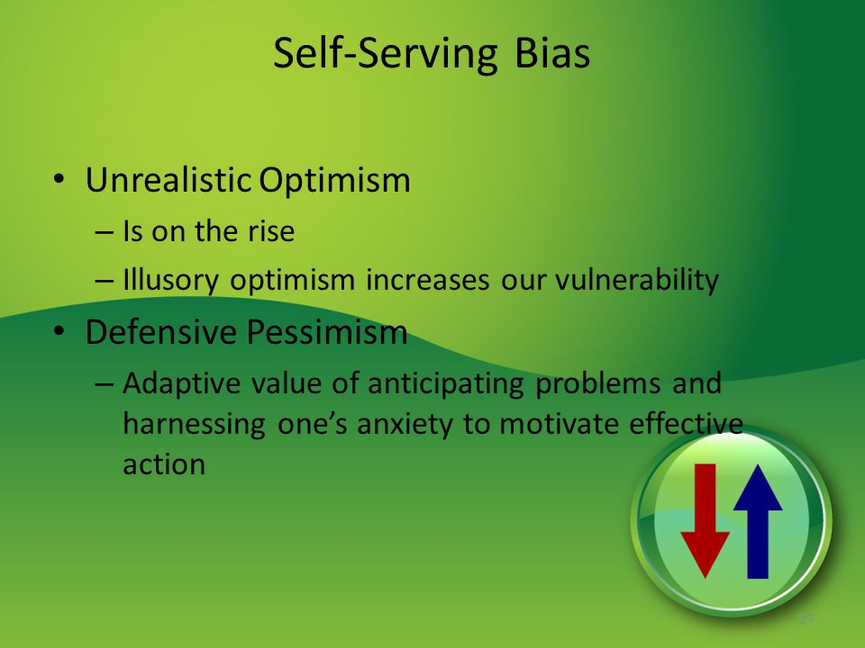 Self-Serving Bias Unrealistic Optimism Defensive Pessimism