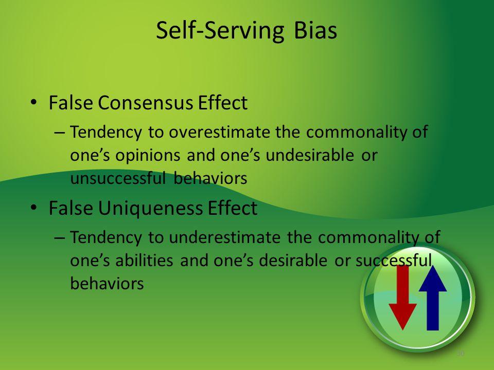 Self-Serving Bias False Consensus Effect False Uniqueness Effect
