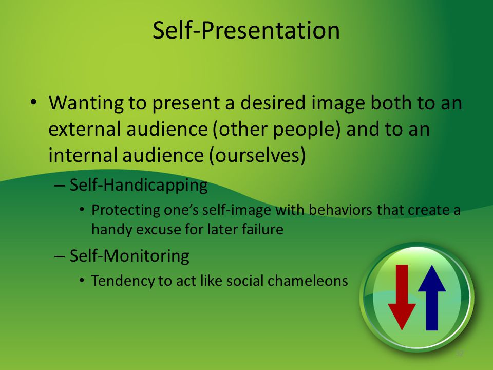 Self-Presentation Wanting to present a desired image both to an external audience (other people) and to an internal audience (ourselves)