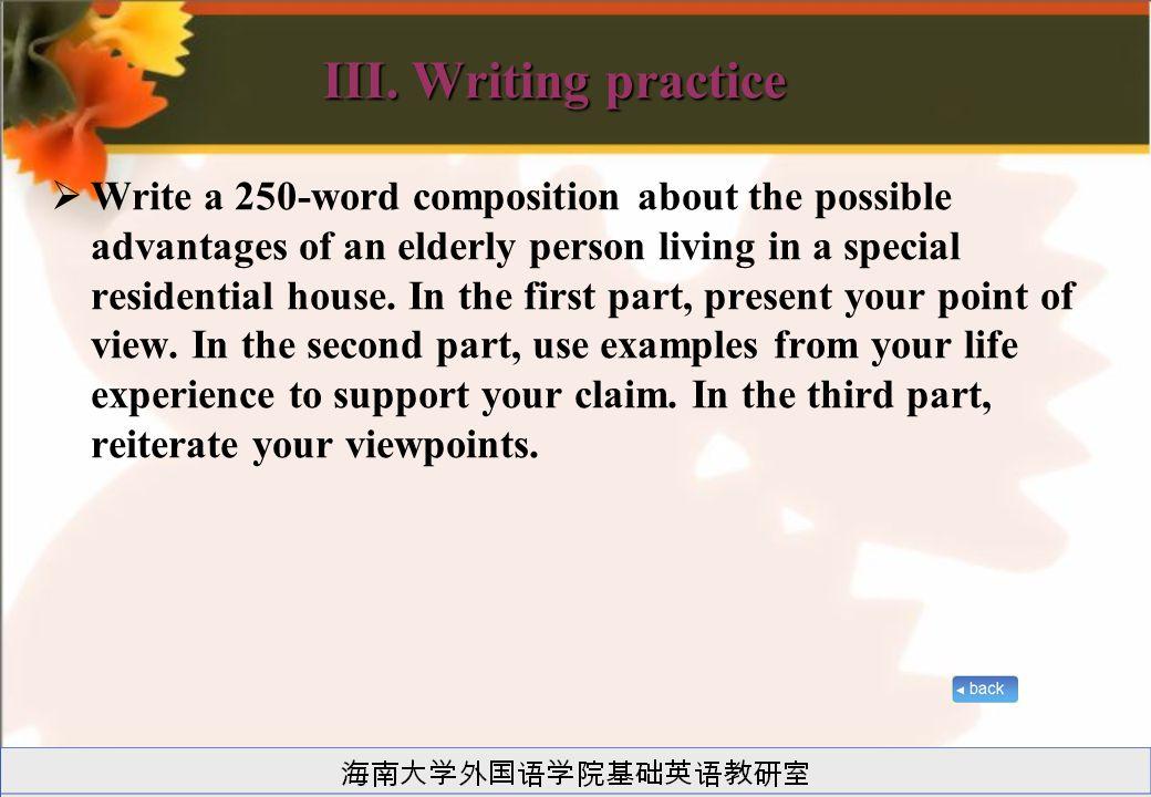 III. Writing practice