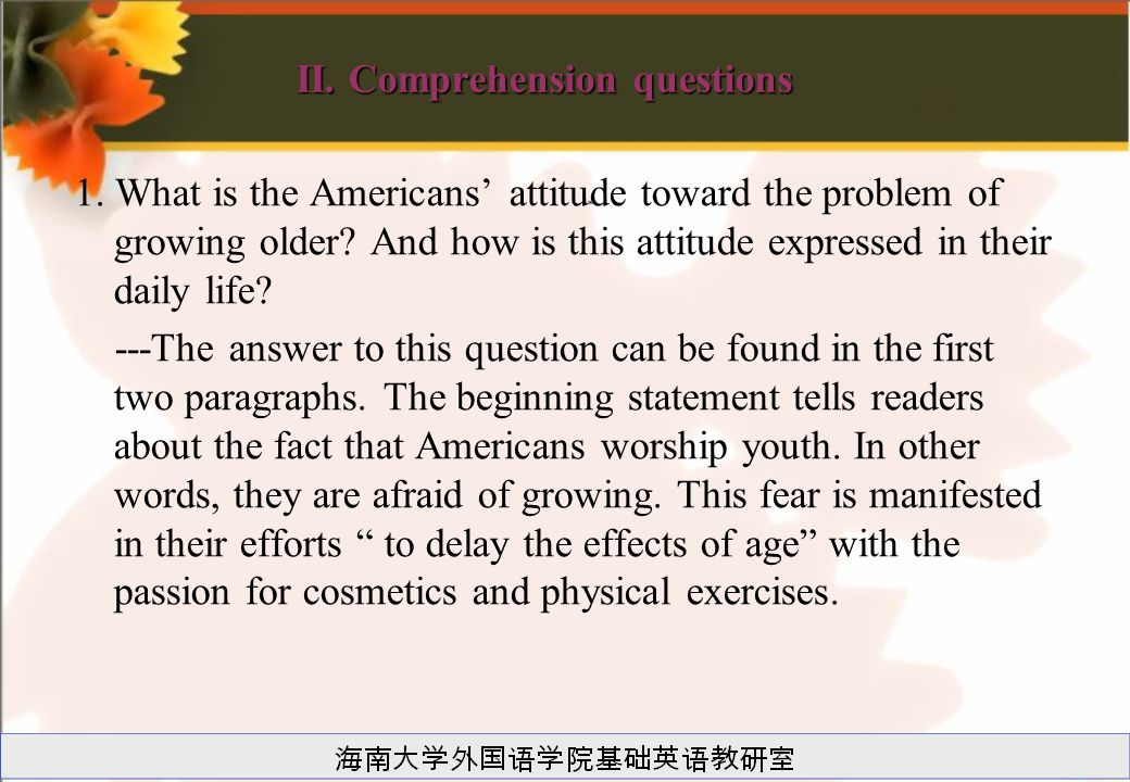 II. Comprehension questions