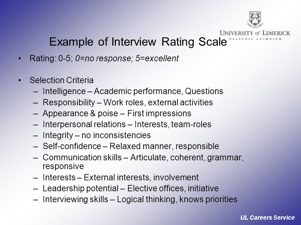 Example of Interview Rating Scale