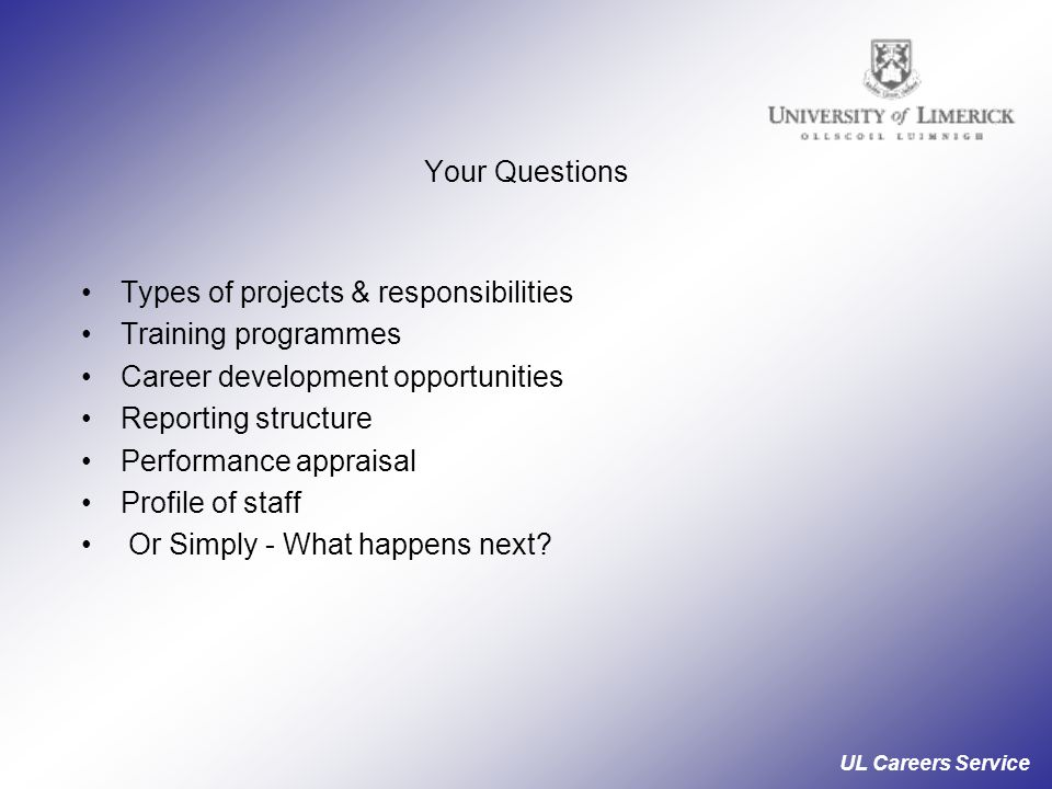 Types of projects & responsibilities Training programmes