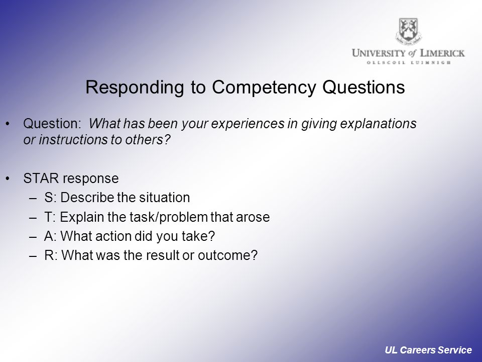 Responding to Competency Questions