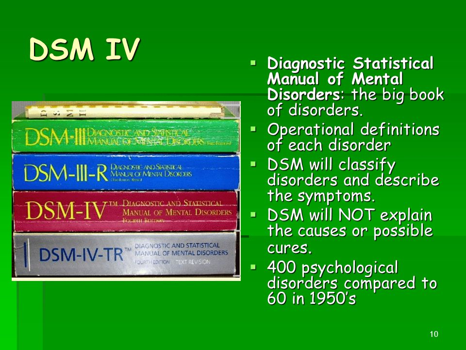 DSM IV Diagnostic Statistical Manual of Mental Disorders: the big book of disorders. Operational definitions of each disorder.
