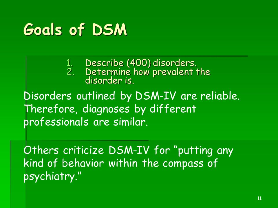Goals of DSM Describe (400) disorders. Determine how prevalent the disorder is.