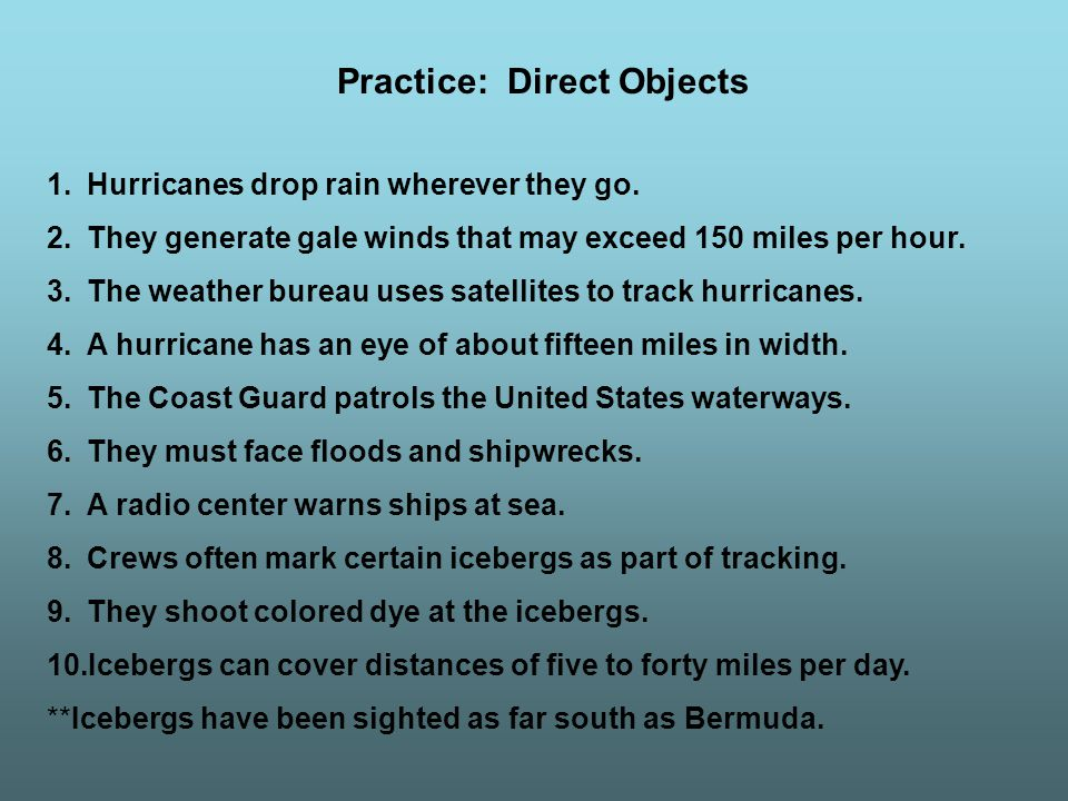 Practice: Direct Objects