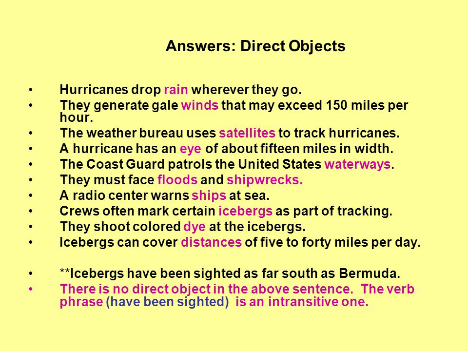 Answers: Direct Objects