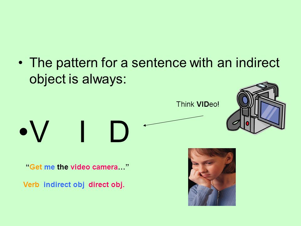 V I D The pattern for a sentence with an indirect object is always: