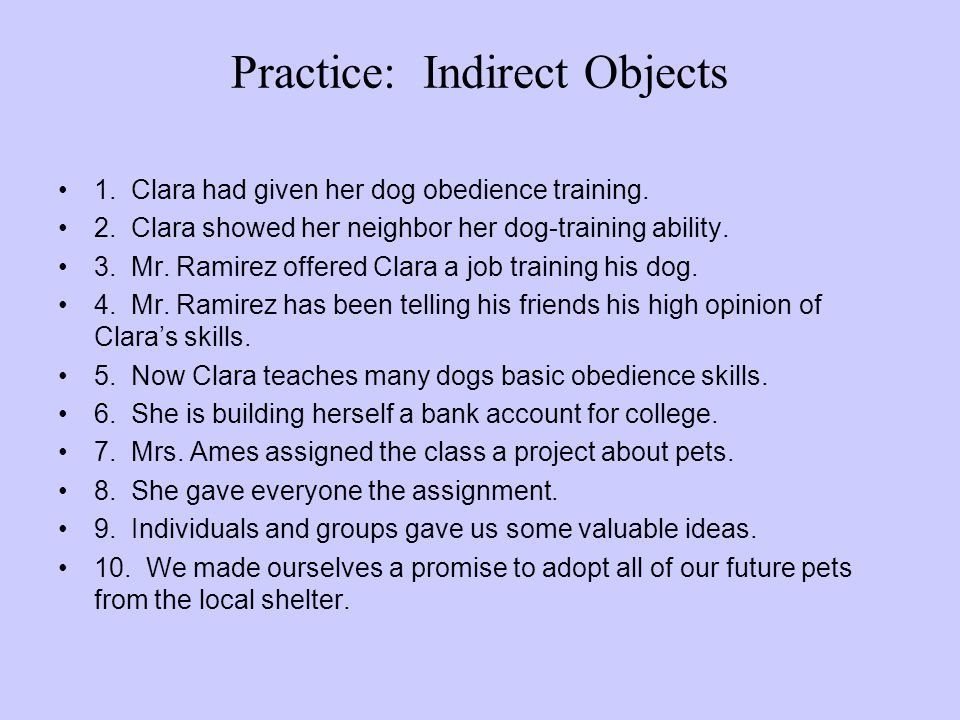 Practice: Indirect Objects