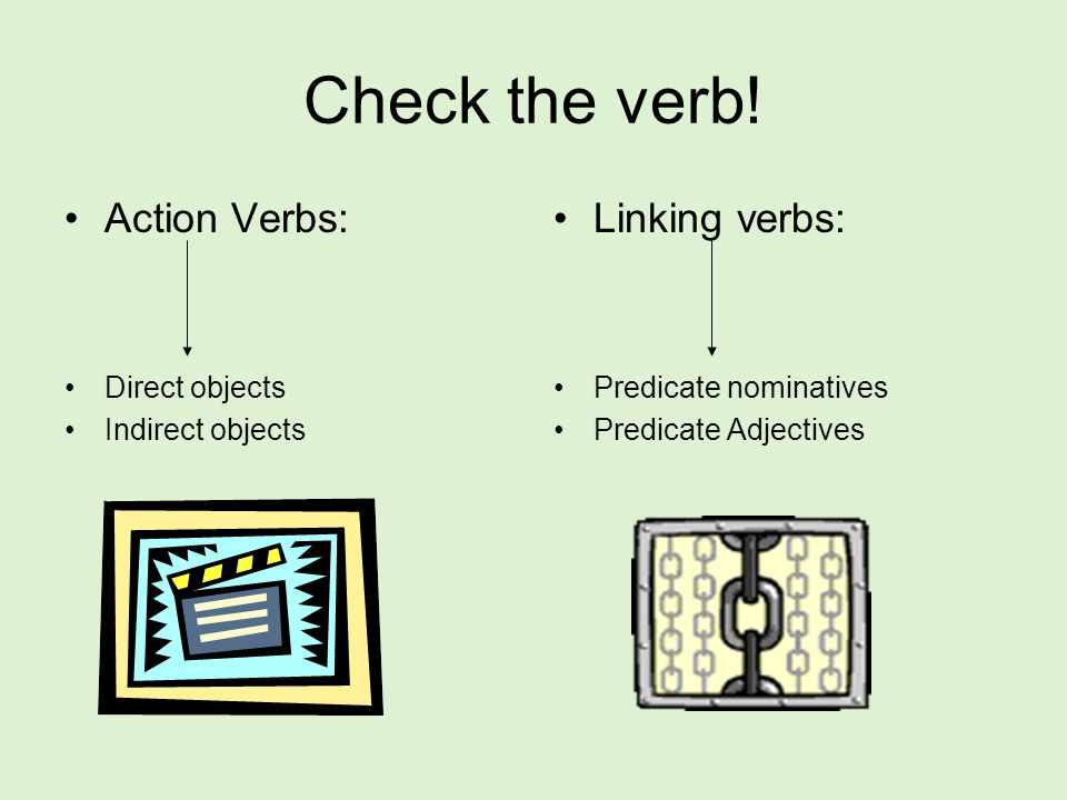 Check the verb! Action Verbs: Linking verbs: Direct objects