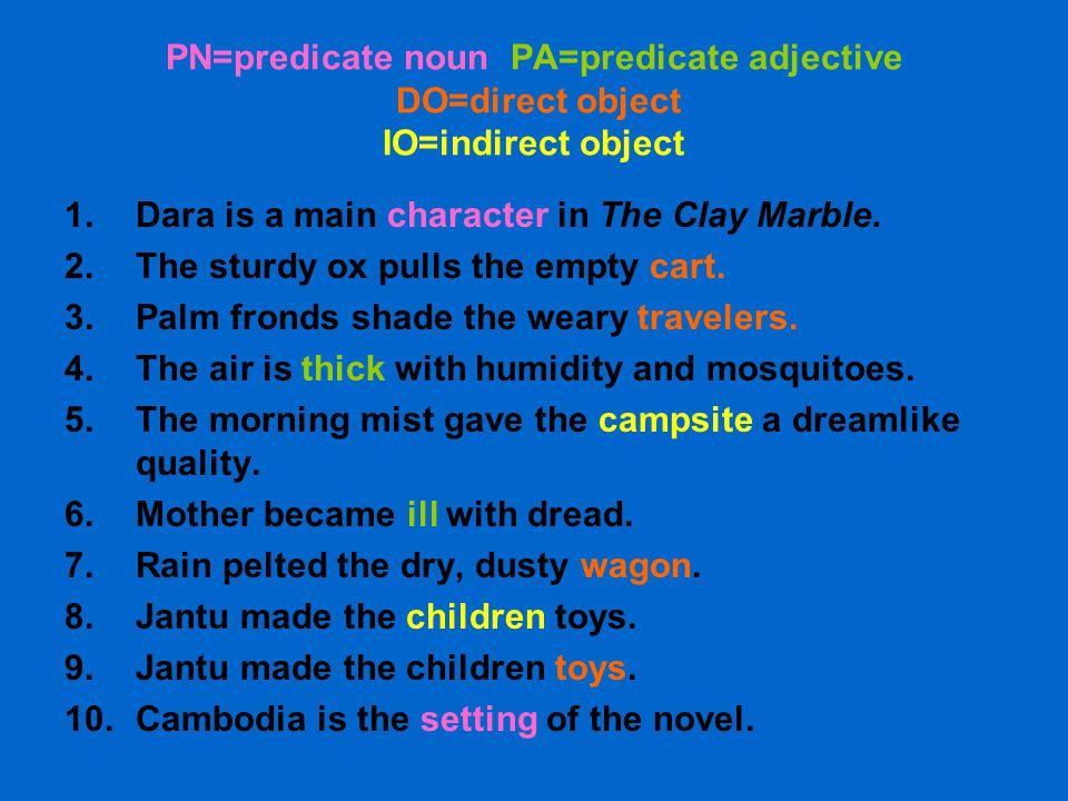 PN=predicate noun PA=predicate adjective DO=direct object IO=indirect object