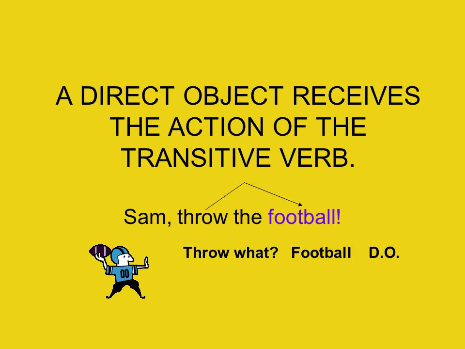 A DIRECT OBJECT RECEIVES THE ACTION OF THE TRANSITIVE VERB.