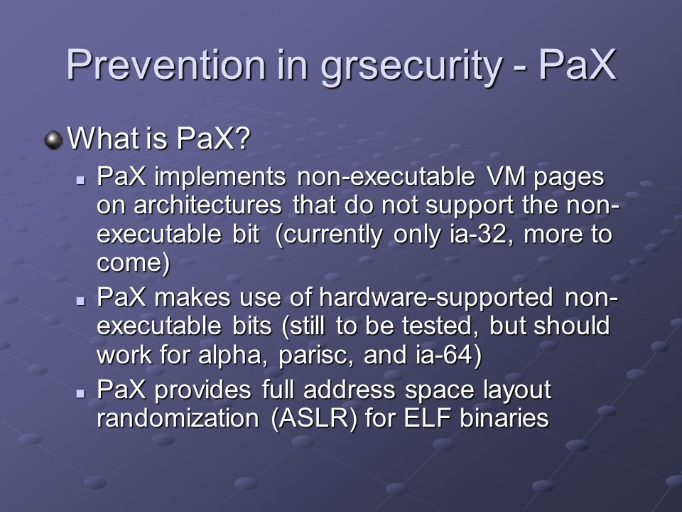 Prevention in grsecurity - PaX
