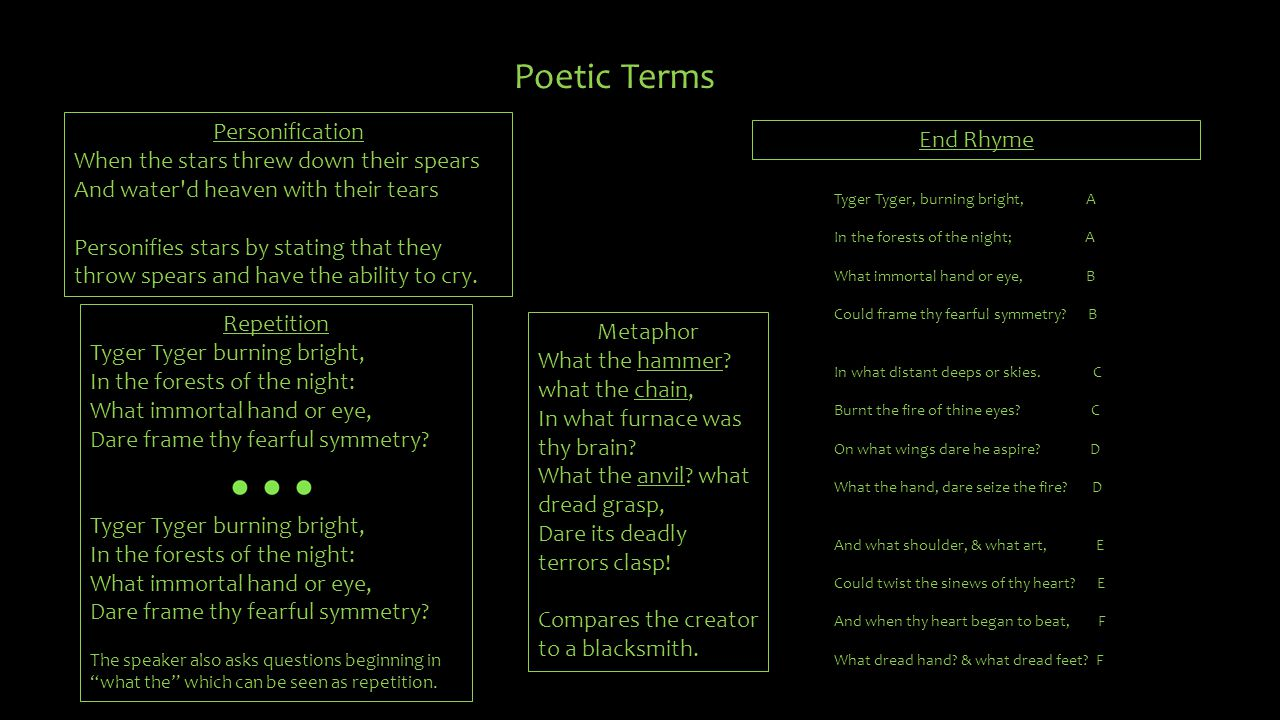 Poetic Terms Personification End Rhyme
