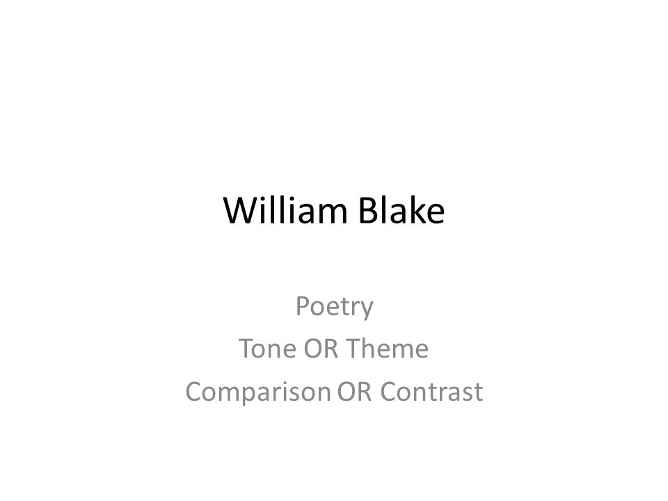 Poetry Tone OR Theme Comparison OR Contrast