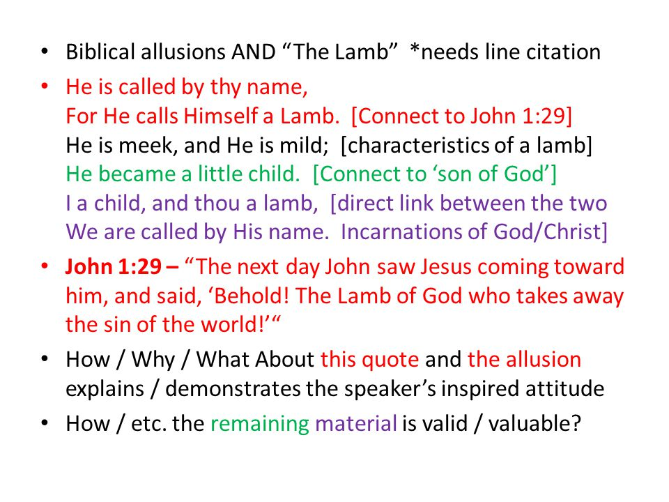 Biblical allusions AND The Lamb *needs line citation