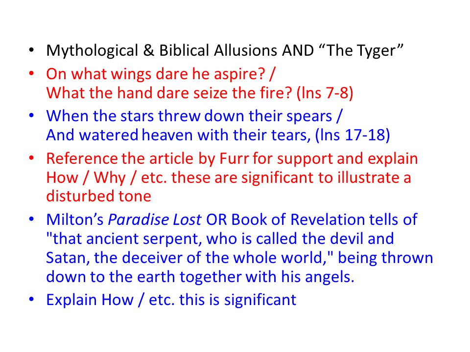 Mythological & Biblical Allusions AND The Tyger